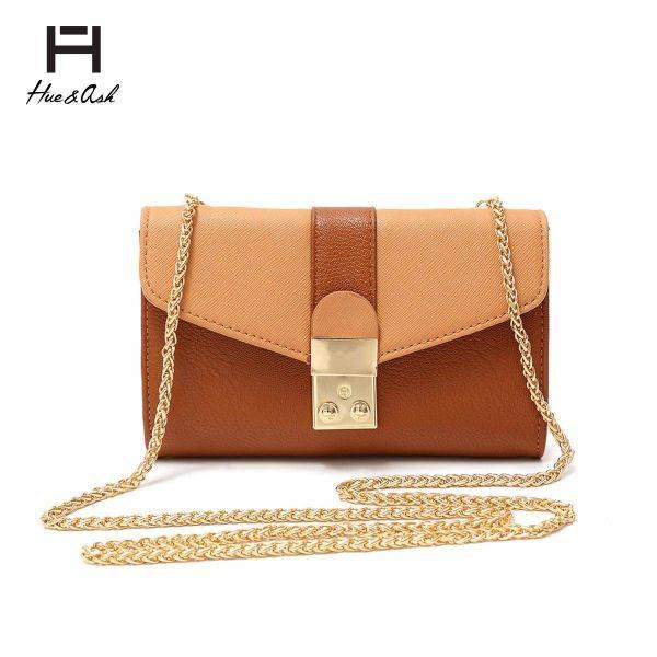 Butterscotch Mini Two Tone Chain Strap Messenger Bag - HNA 2031