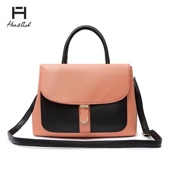 Black Two Tone Designer inspired Flap Handbag - HNA 2046
