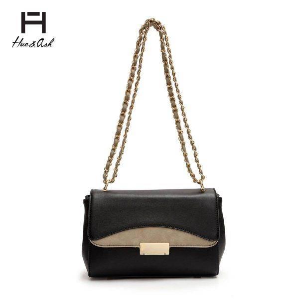 Black Fashion Chain Strap Messenger Bag - HNA 2048