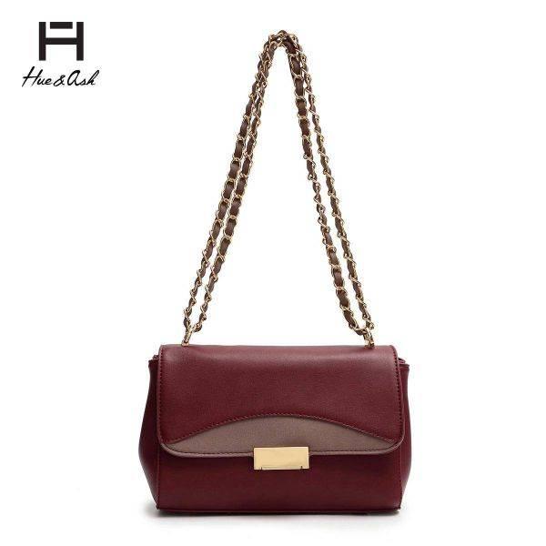Burgundy Fashion Chain Strap Messenger Bag - HNA 2048