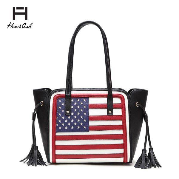 Black American Flag Tote Handbag - HNA 2112