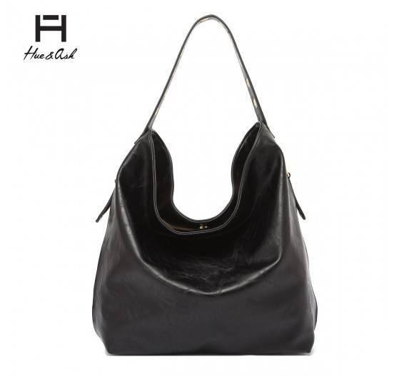 Black Solid Classic Hobo Single Handbag - HNA 2331