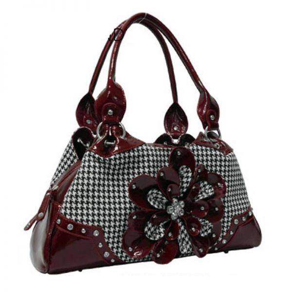 Burgundy Hountooth With Flower Handbag  - HTF2 8089
