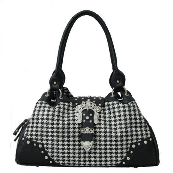 Black Hountooth With Buckle Handbag - HTM2 8089