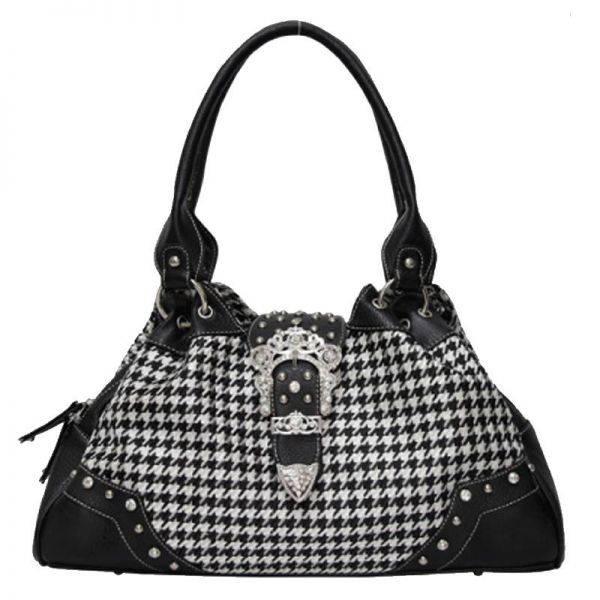 Black Hountooth With Buckle Handbag - HTM4 8089