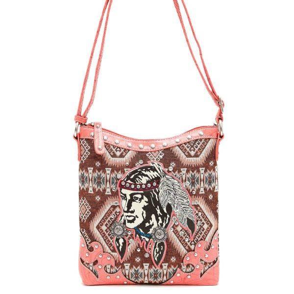 Coral 'Native American' Western Messenger Bag - *INW 4699