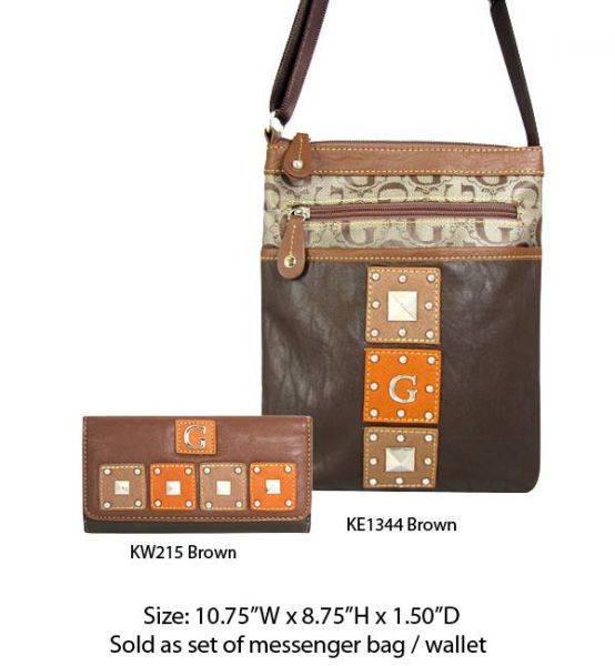 Brown G-Style Messenger Bag with Wallet - KE1344-KW215 Set