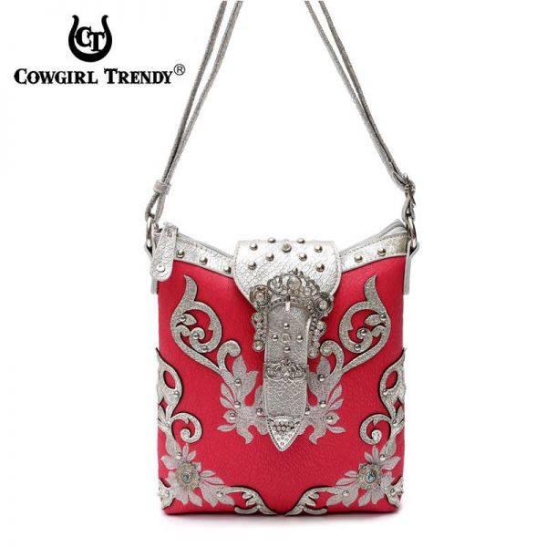Fuchsia Flower Rhinestone Belt Design Messenger Bag - KKX2 4699