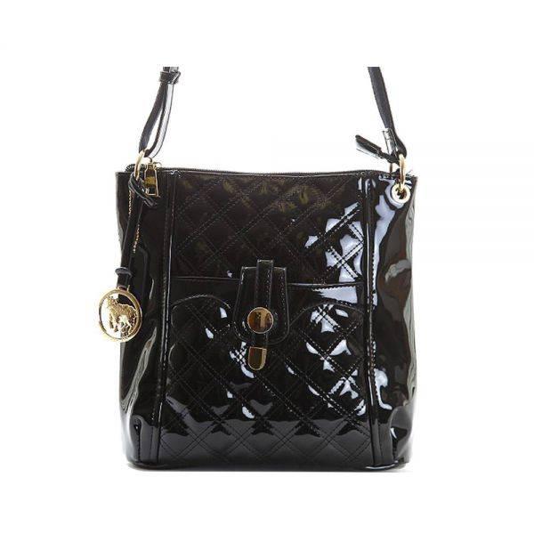 Black Fashion Quilted Messenger Shoulder Bag - LS0267