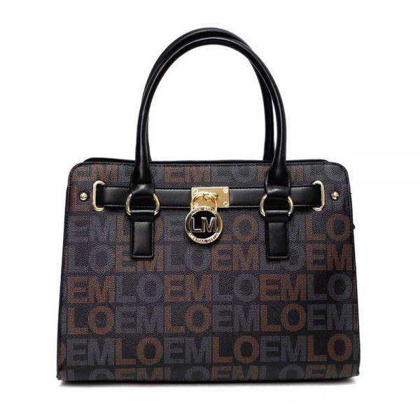 Black LOEM Signature Padlock Satchel Handbag - LT-466S