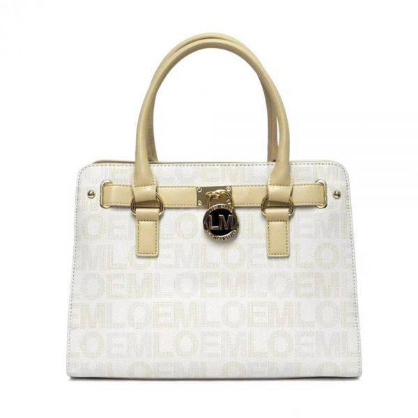 White LOEM Signature Padlock Satchel Handbag - LT-466S