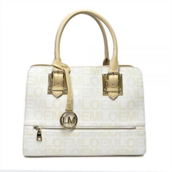 White LOEM Signature Top Handle Structured Handbag - LT-674L