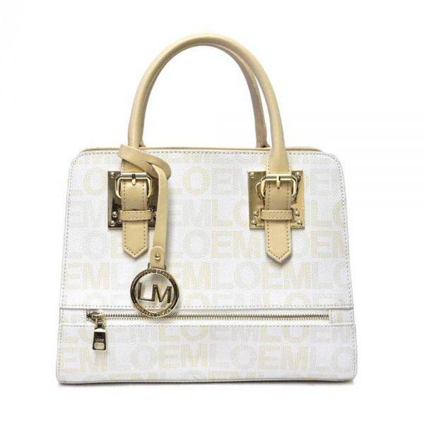 White LOEM Signature Top Handle Structured Handbag - LT-674S