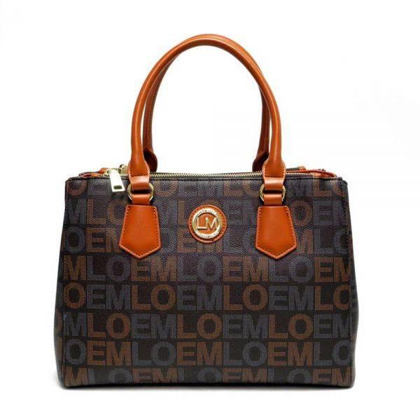 Black LOEM Signature Structured Top Handle Handbag - LT-676