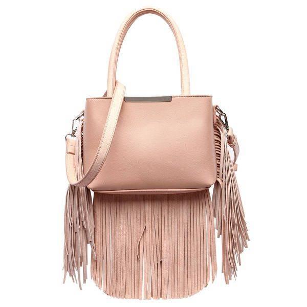 Apricot Solid All Over Fringe Satchel Handbag - MAW 5745