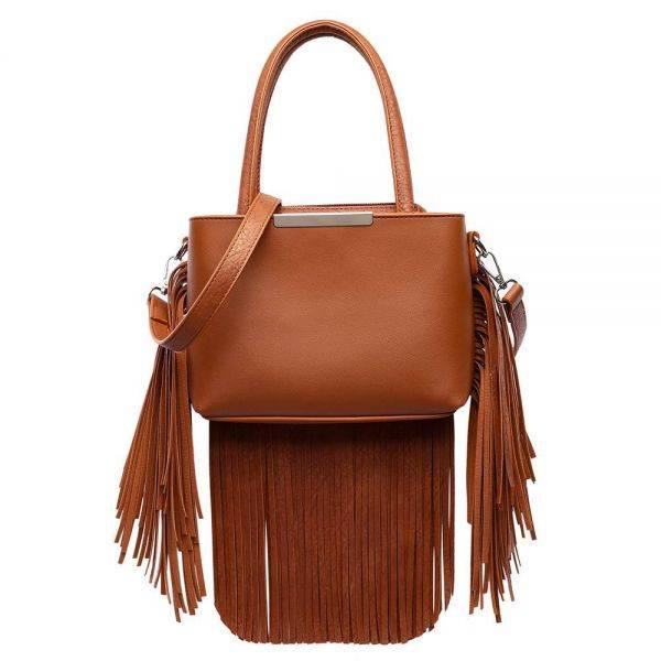 Brown Solid All Over Fringe Satchel Handbag - MAW 5745