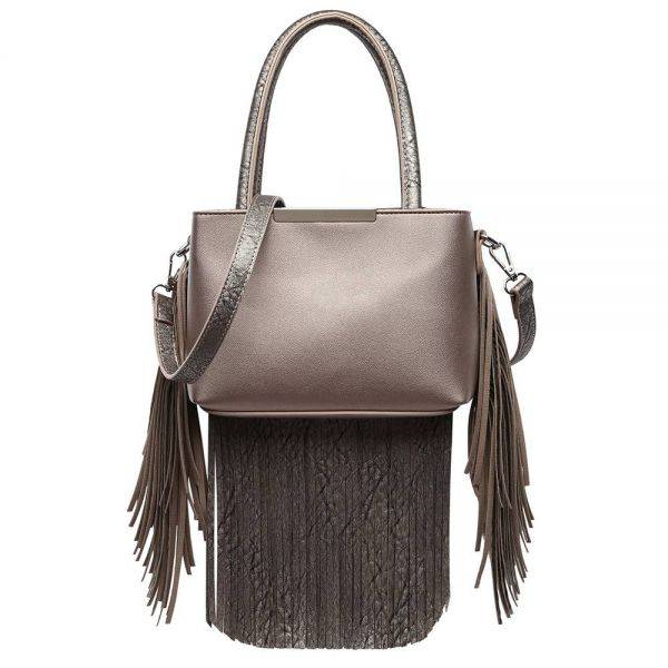 Pewter Solid All Over Fringe Satchel Handbag - MAW 5745