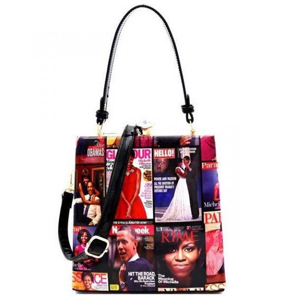 Black Michelle Obama Magazine Handbag - MB5824