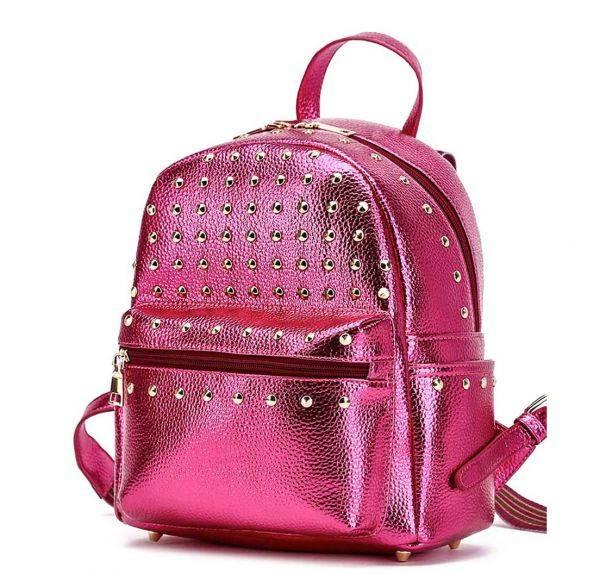 Fuchsia Solid Shinny Metallic Fabric Studs Backpack - MMY 5450