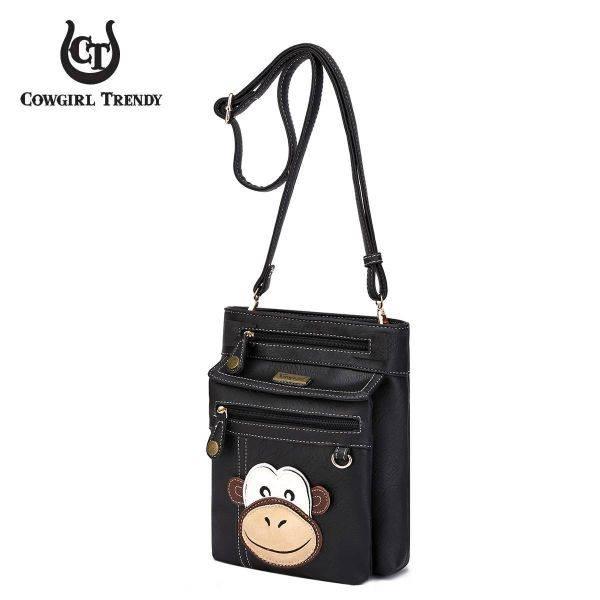 Black Monkey Patched Messenger Bag - MOKY 5459