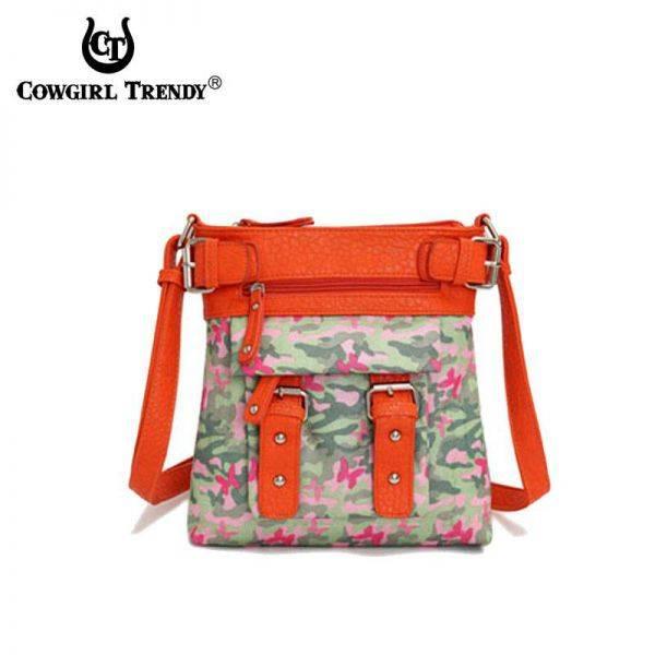 Orange Western Butterfly Camo Hipster Messenger Bag - MOU 4690
