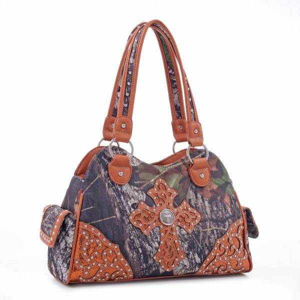 Brown 'Mossy Oak' Structured Satchel Bag - MT1-40022P MO