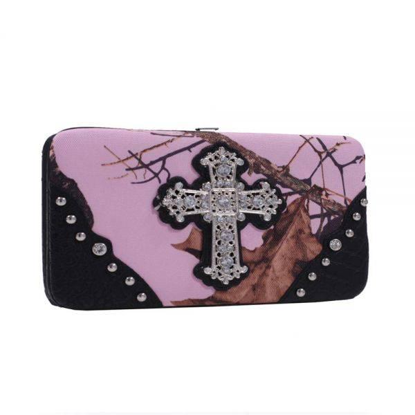 Black 'Mossy Pink' Hard Case Wallet - MT1-AW251 MP/BK