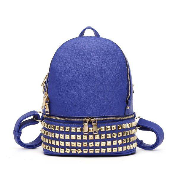 Blue Designer inspired Square Studs Backpack - MYY 5449L