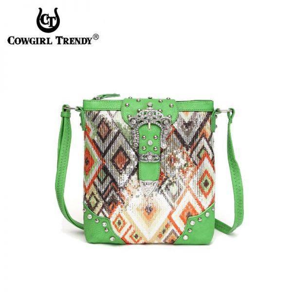 Green Western Cowgirl Messenger Bag - NEM 9469B