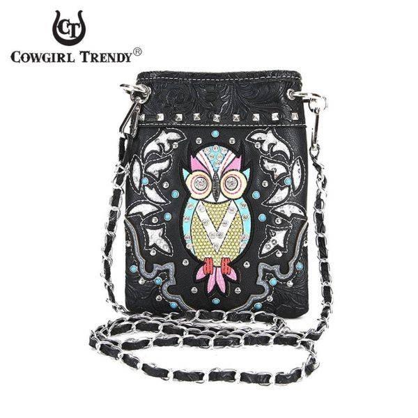 Black Owl Theme Mini Western Messenger Bag - OWL3 5397