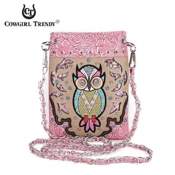 Fuchsia Owl Theme Mini Western Messenger Bag - OWL3 5397