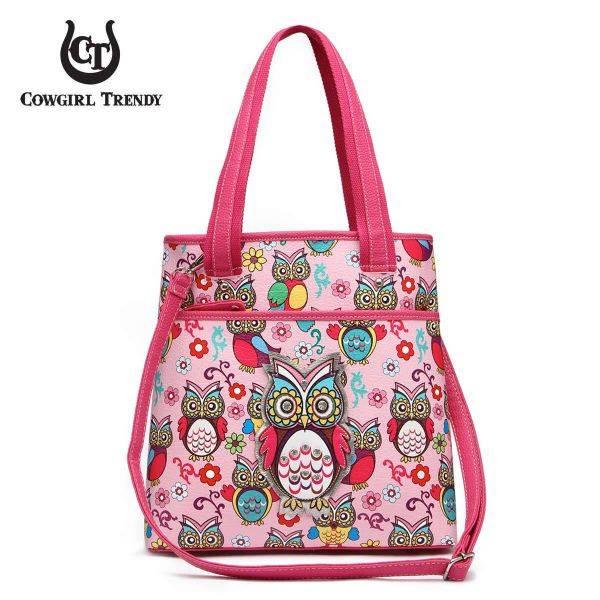 Fuchsia Owl and Flowers Spring print Tote Handbag - OWLP 5462