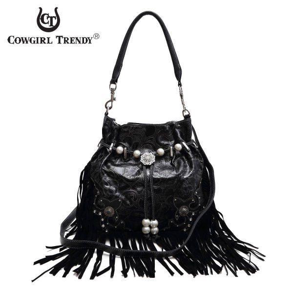 Black Fringe And Engrave Accented Bucket Handbag