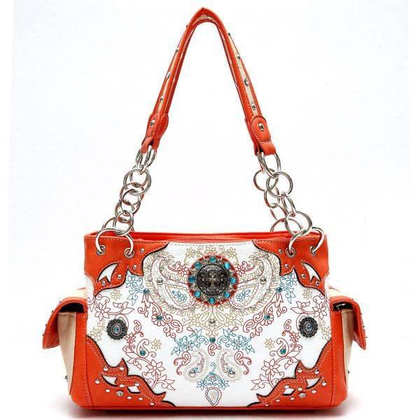 Orange Cowgirl Concho Floral Western Handbag - PAY 8469