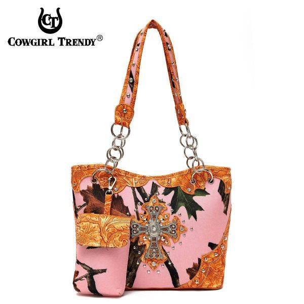Orange Cowgirl Trendy Cross N Leaves Western Handbag - PML7 5166