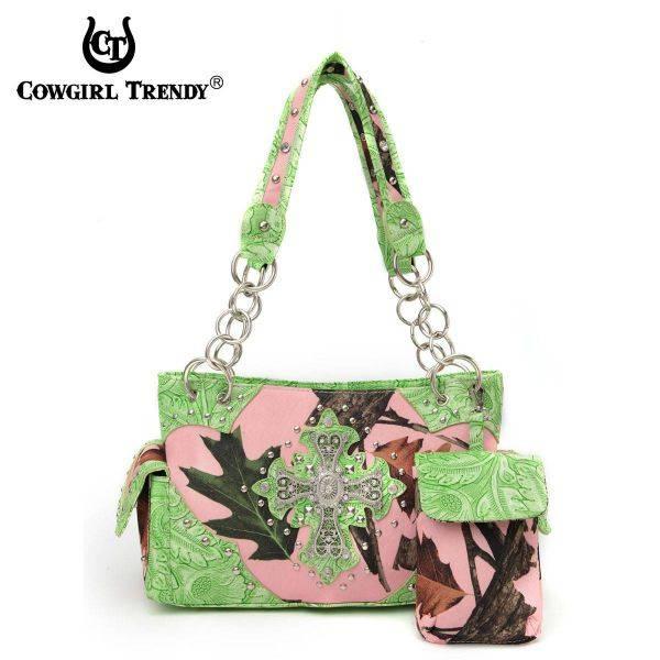 Lime Cowgirl Trendy Cross N Leaves Handbag - PML7 8469C