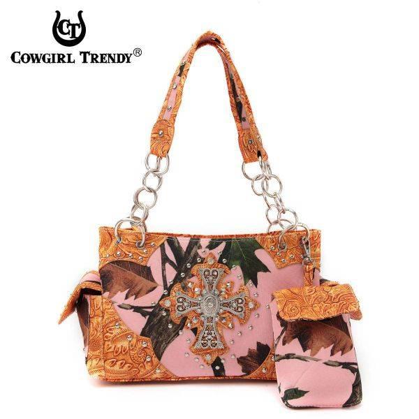 Orange Cowgirl Trendy Cross N Leaves Handbag - PML7 8469C