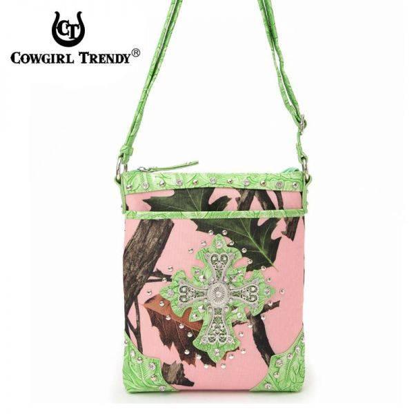 Lime Cowgirl Trendy Cross N Leaves Messenger Bag - PML7 9469C