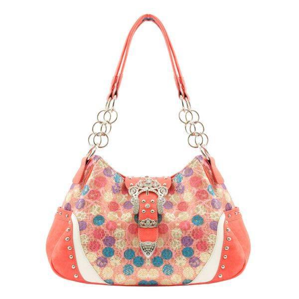 Coral Western 'Multi Polka Dot'  W/Buckle Handbag - POR 5214