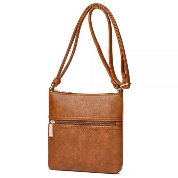 Brown Solid Front Pocket Messenger Bag - SAC 5786