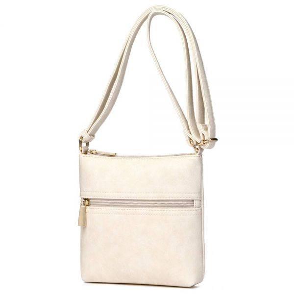 Cream Solid Front Pocket Messenger Bag - SAC 5786