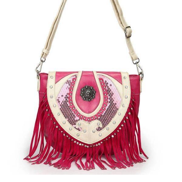 Fuchsia Western Style Studded Sequin Messenger Bag - SEQ2 450