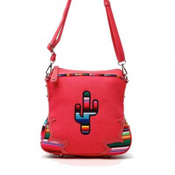Coral Western Cactus & Rainbow Strips Messenger Bag - SER 200