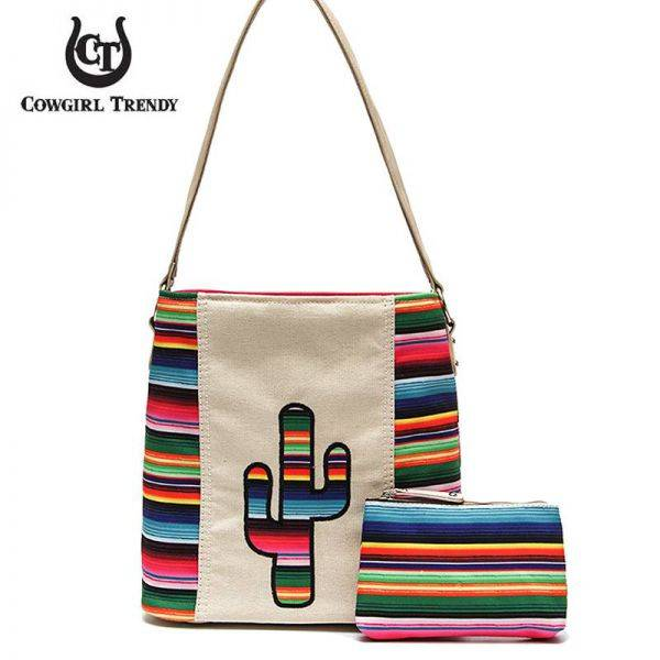 Ivory Rainbow With Cactus Serape Handbag & Wallet - SER 5435