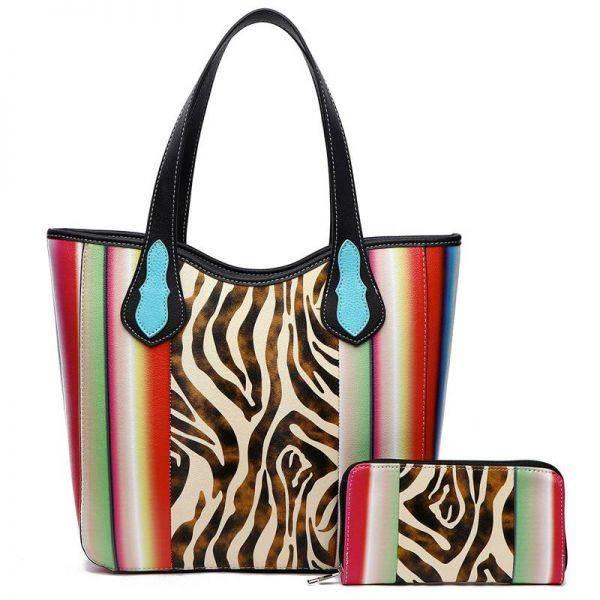 Black Western Cowgirl 2IN1 Zebra Print Handbag - SERA2 5376Z