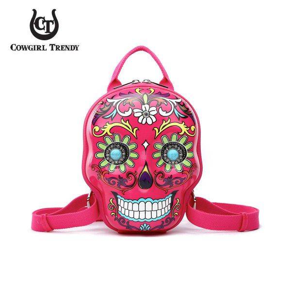 Fuchsia 3D Hardshell Box Sugar Skull Backpack - SKSB 5618