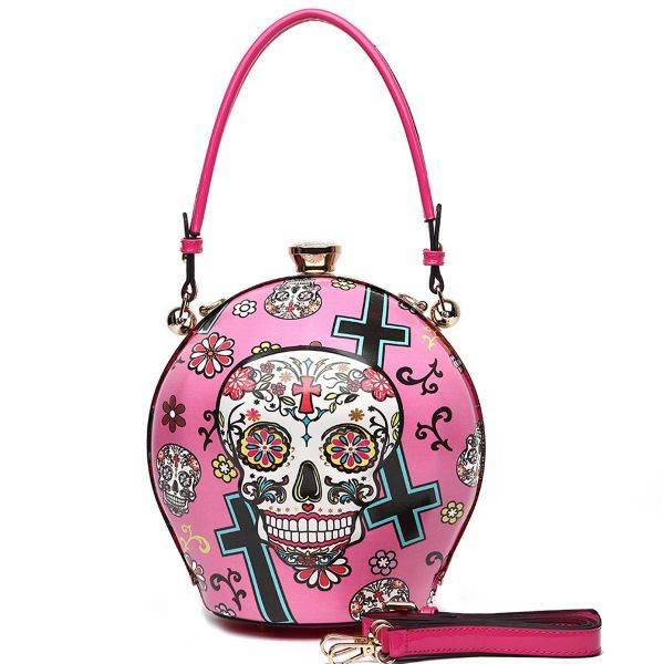 Fuchsia Sugar Skull Ball Handbag - SKU16 2929T