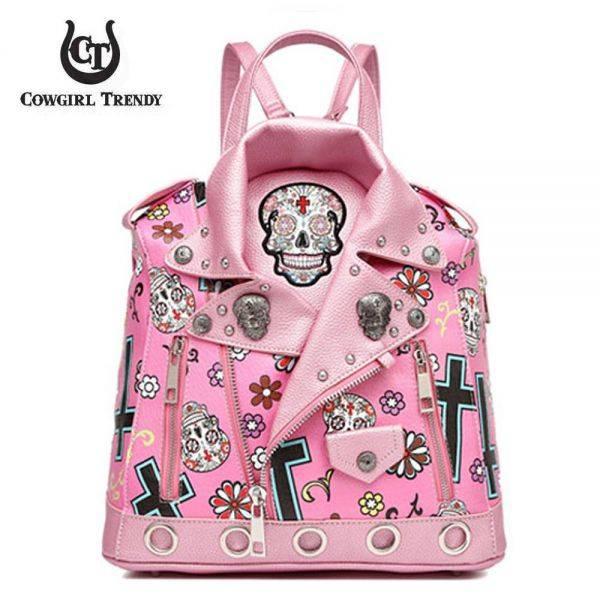 M.Pink 'Skull & Cross' Biker Jacket Handbag - SKUM 5386