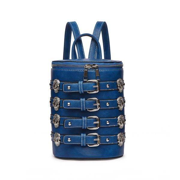 Blue 'Biker Skull' Belted Barrel Backpack - SKUU 5703
