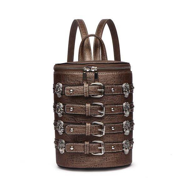 Brown 'Biker Skull' Belted Barrel Backpack - SKUU 5703